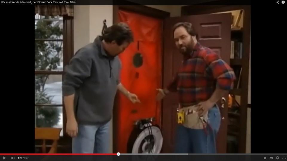Blower Door Test bei Hör mal wer da Hämmert aus dem Jahre 1997.